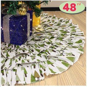 Christmas Burlap Ruffle Trim Tree Skirt, 48-inch